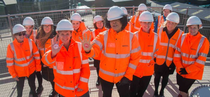 Northumbrian Water CEO Heidi Mottram with Newcastle Central MP Chi Onwurah and other women at Howdon WWTW for International Women in Engineering Day 2017