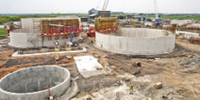 A view of the sewage treatment works under construction