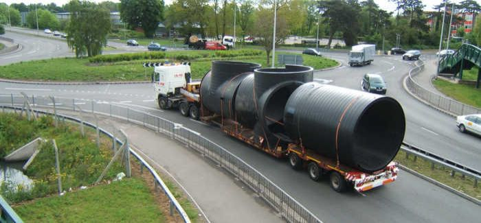 The transportation involved in importing and exporting concrete and HDPE pipes has to be considered
