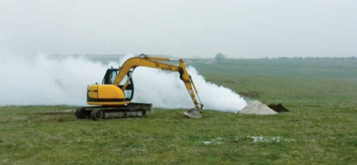 A phosphorous bomb was uncovered and made safe during pipelaying excavations