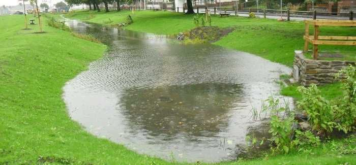 Queen Mary's Walk Swale (seen here being tested) would fill to the brim in a 1-in-100 year storm
