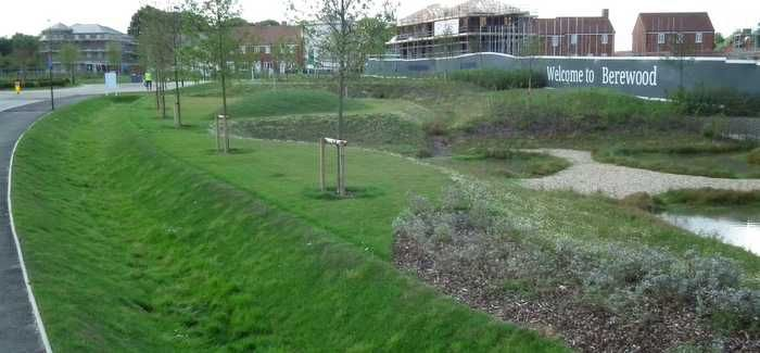 A SuDS system at Berewood housing development in Waterlooville, near Portsmouth