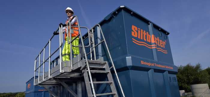 Rich Matthews pictured with Siltbuster's new MBBR unit