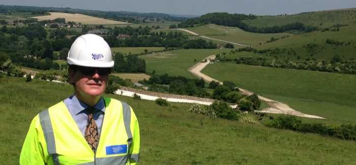 Wessex Water's Programme Manager Drummond Modley surveying the pipeline route