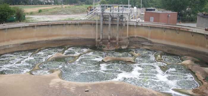 A grit-filled equalisation basin at a wastewater treatment plant