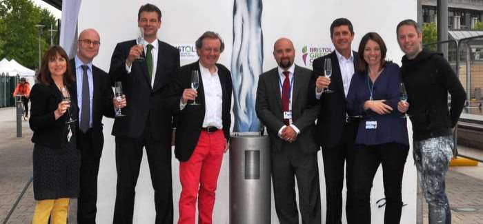 Patric Bulner (third from left) at the opening of the drinking fountain in Bristol's Millennium Square