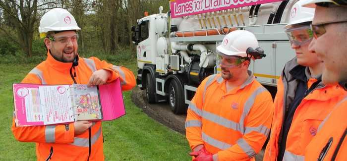 Craig May (left) conducting onsite training with a team from the Lanes utilities depot at Gerrards Cross, South Bucks