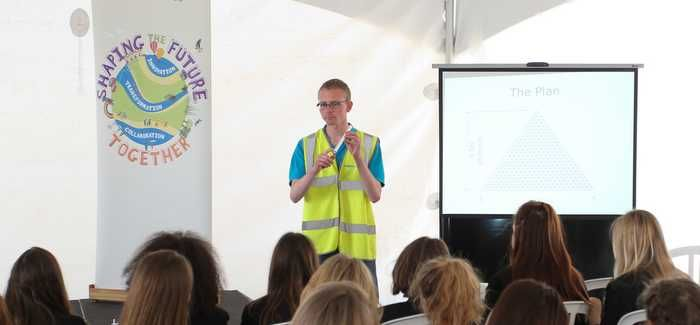 Richard Park talking to a school group at Anglian's education centre in Chelmsford