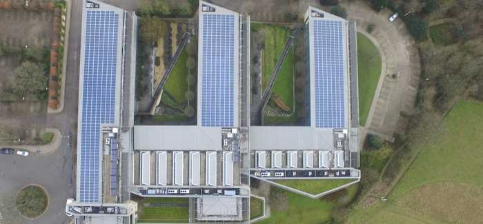 Wessex Water's Operations Centre, viewed from above with the solar panels in place