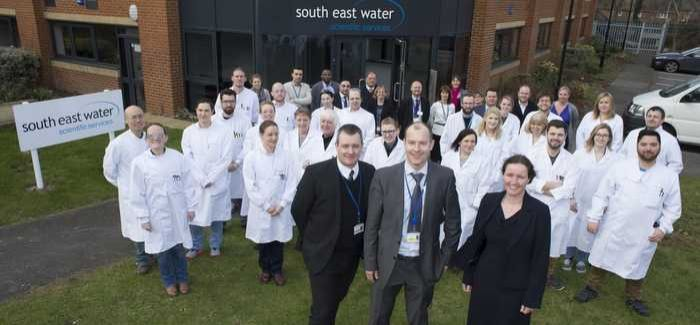 Staff outside the new laboratory in Farnborough