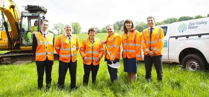 L-R: Oliver Twydell, Stuart Owen (both Dee Valley Water), Susan Elan Jones MP, Ian Lucas MP, Lesley Griffiths AM and Ian Plenderleith (CEO, Dee Valley Water)