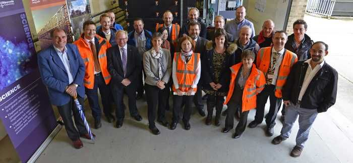 Northumbrian Water CEO Heidi Mottram (front row, centre left) at the opening of the facility