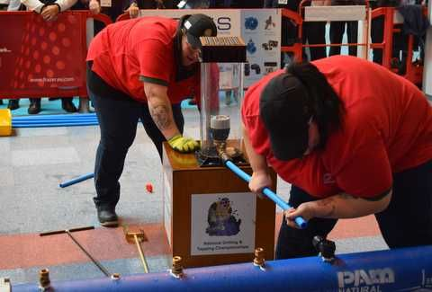 Lesley and Kayleigh Barratt in action at the Drilling and Tapping competition