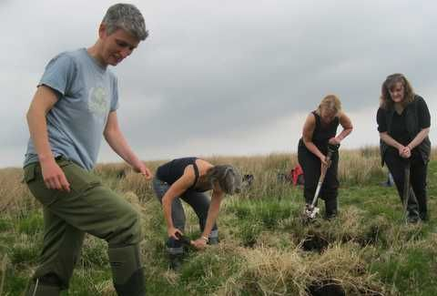 Morag Angus (left) at work on the moor