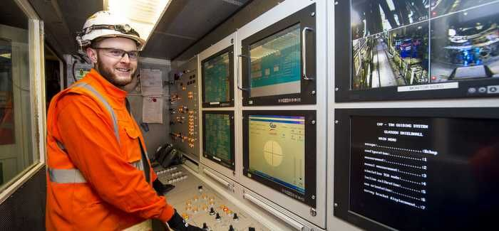 Tom Rushe in the Tunnel Boring Machine (Picture credit: SNS)