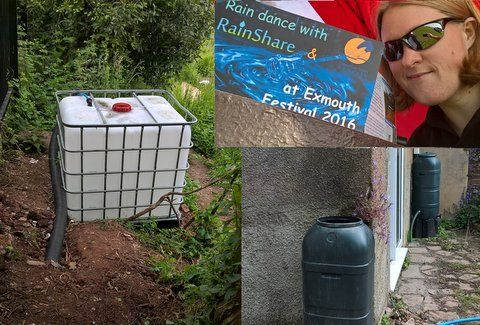 Dr Sarah Ward, founder of RainShare, and some of its rainwater installations in Exeter