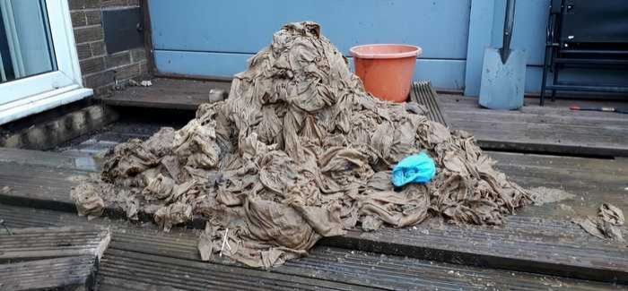 A pile of wet wipes extracted from a blocked drain