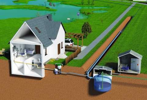 Vacuum sewerage network including vacuum station and wastewater tank