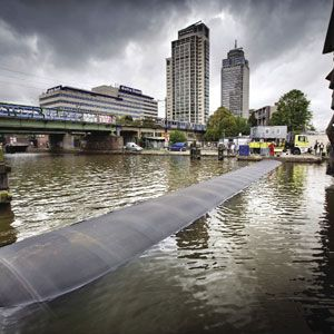 Inflatable barrier shields Amsterdam
