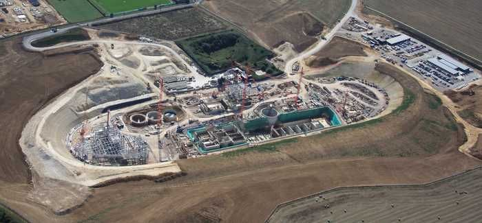 Sixteen of Southern Water's wastewater treatment works produce renewable energy including Peacehaven, seen here during construction
