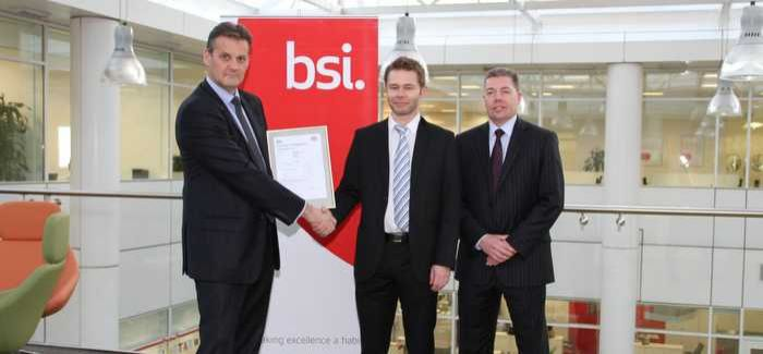 Mark Basham, EMEA managing director for BSI; Colin Duguid, deputy quality manager at Scottish Water; Robert Doughty, asset management systems manager at Scottish Water