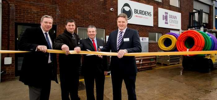 Burdens new branch is declared open by (left to right) Mark Shearer and Shaun Irvine from Burdens, Dave Wakelin of Drain Center and Alan Long, also of Burdens