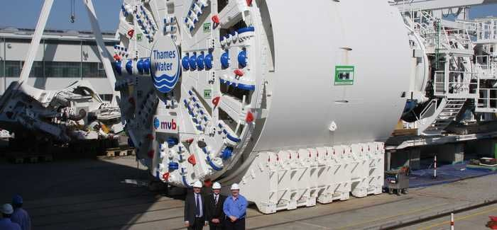 The 120m boring machine tunnelled through 54m of earth a day