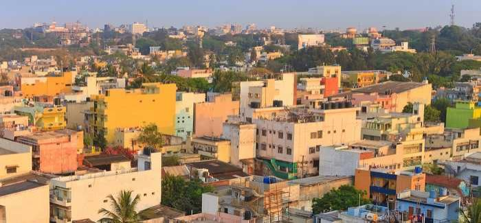 Dense housing in Bangalore where the population has nearly doubled since 2000