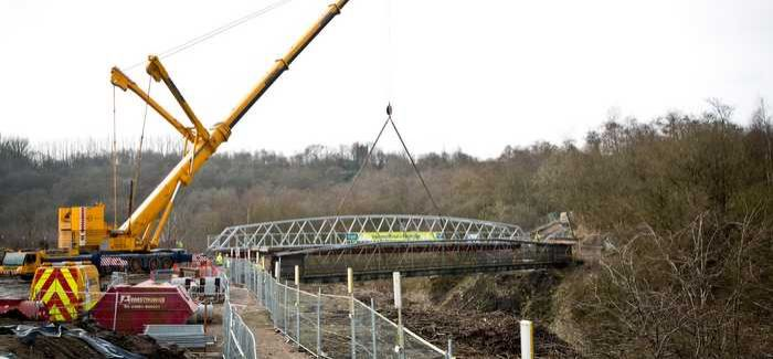 The footbridge hosts a 600mm sewer pipe
