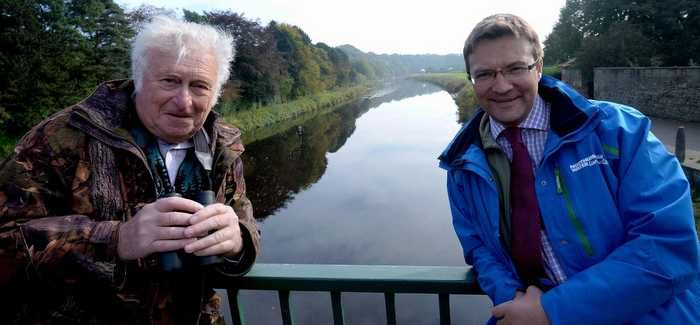 Den Lilley (left), the scheme's first Water Ranger volunteer, with Northumbrian Water's Richard Warneford
