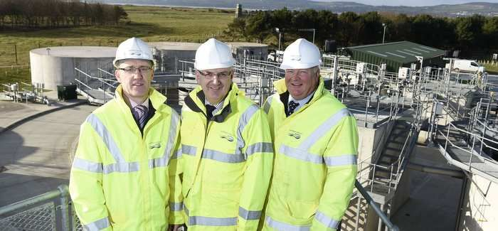 Danny Kennedy (centre) with (left) Alec McQuillan, NI Water's head of Wastewater and (right) Dermott McCurdy, NI Water, head of Wastewater Capital Delivery