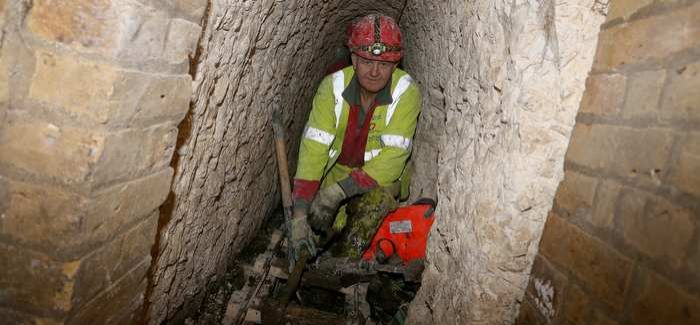 Miner Frank Whoriskey digging a tunnel in Ramsgate