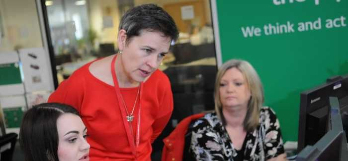 Wakefield MP Mary Creagh visiting Yorkshire Water's contact centre