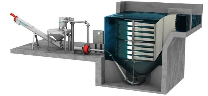 The HeadCell can be combined with Hydro's GritCup washer and classifier and SpiraSnail dewatering system
