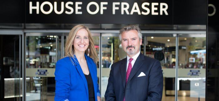 Business Stream chief executive Jo Dow with Frank J Slevin, executive chairman of House of Fraser