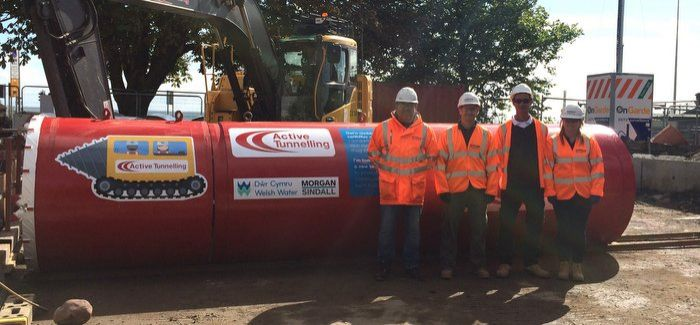L-R: Neil Derrick, general foreman; Gavin Lewis, senior engineer; Richard Wilson, Active Tunnelling; and Nicola Rowlands, SHEQ co-ordinator