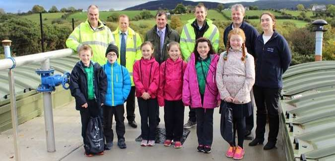 Schoolchildren from Dromintee were invited to see the new works