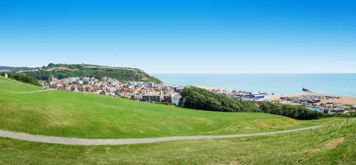 A panoramic view over Hastings