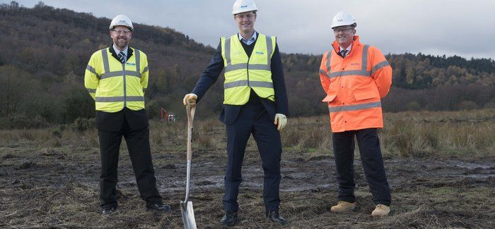 Nick Clegg (centre) with Yorkshire Water's Simon Balding (left) and Mott McDonald Bentley director James Harris