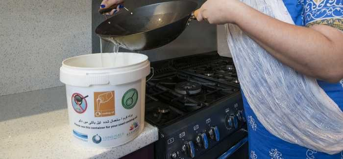 Cooking oil is poured into a 'fat vat' rather than down the sink