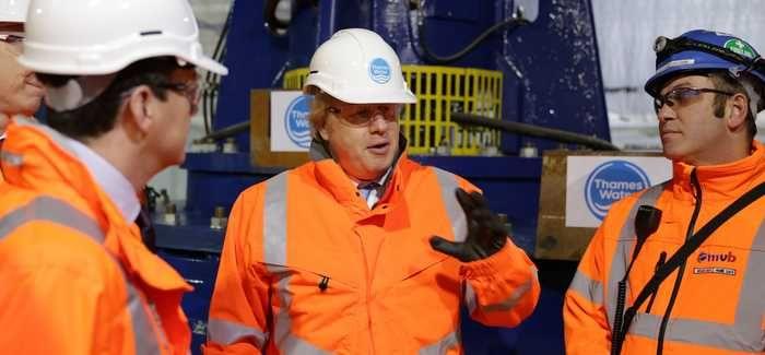 London Mayor Boris Johnson is shown around the Lee Tunnel at Beckton