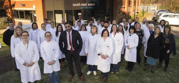 Scientists and staff at the laboratory in Farnborough, Hampshire