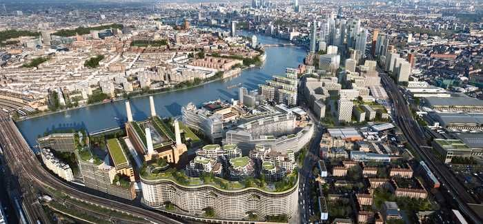 A computer-generated image of how the Nine Elms SUDS project will look on completion