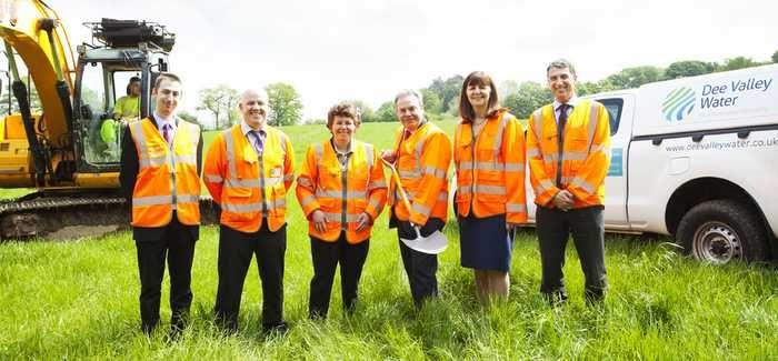 (L-R: Oliver Twydell, Stuart Owen (Dee Valley Water), Susan Elan Jones MP, Ian Lucas MP, Lesley Griffiths AM, Ian Plenderleith (CEO, Dee Valley Water)
