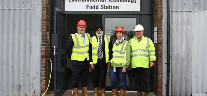 L-R: Dr Barry Cleasby (Southern Water), Professor Pal Ahluwalia, Sarah Duckering, Dr John Williams (all University of Portsmouth)
