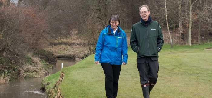 Northumbrian Water CEO Heidi Mottram and EA Chief Executive Sir James Bevan at Brunton Park
