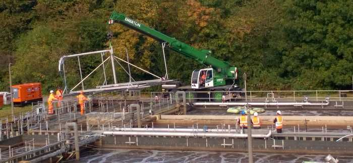 The work in progress at Dorking Sewage Treatment Works