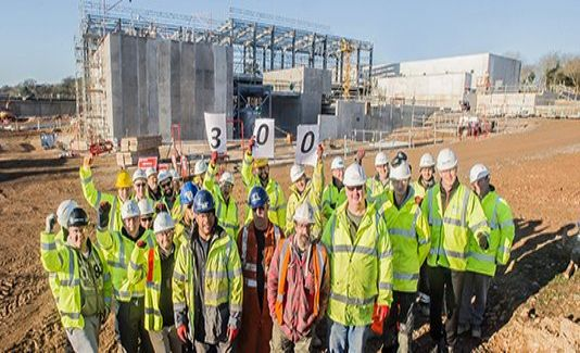 Workers at the Mayflower Water Treatment Works site