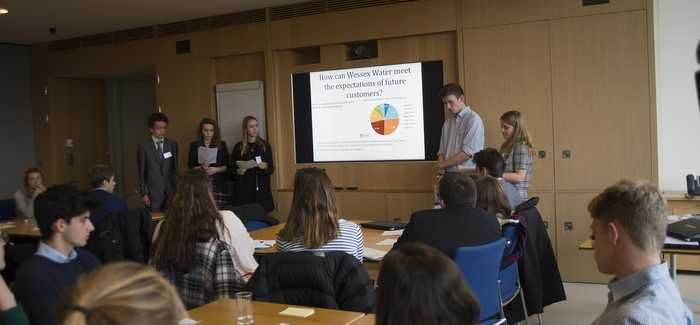 The students presented their ideas to senior figures at Wessex Water