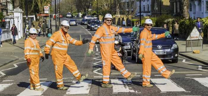 The water mains workers at the famous Abbey Road crossing